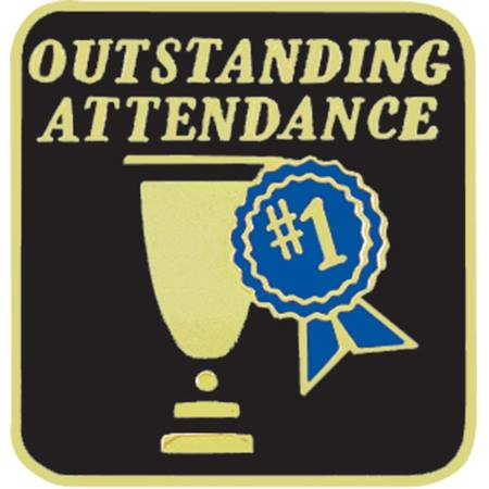 Attendance Award Pin - Outstanding Attendance Trophy and Ribbon