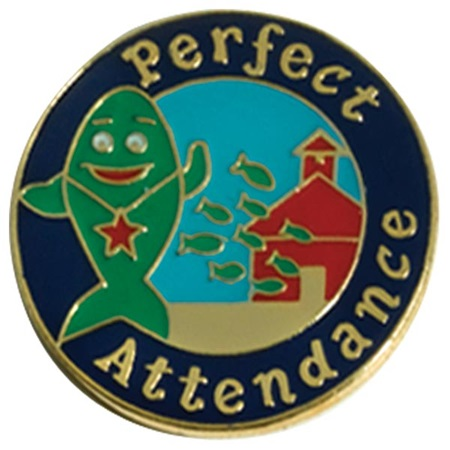 Attendance Award Pin - Perfect Attendance School of Fish