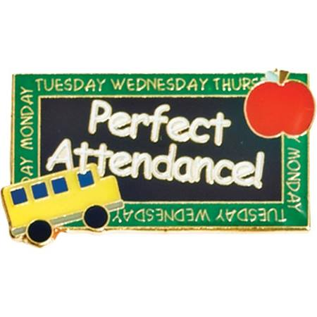 Attendance Award Pin - Perfect Attendance Chalkboard