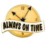 Attendance Award Pin - Always on Time Clock