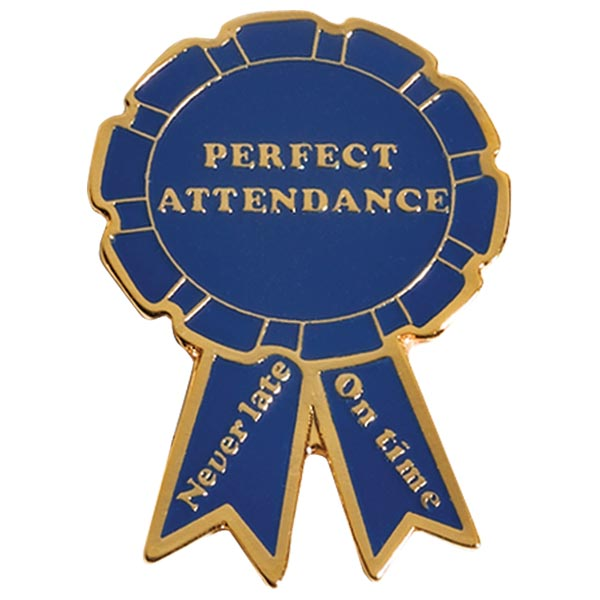 Attendance Award Pin - Perfect Attendance Blue Ribbon | Anderson's