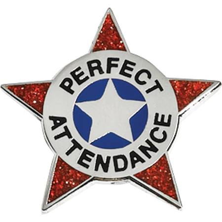 Attendance Award Pin - Perfect Attendance Glitter Badge