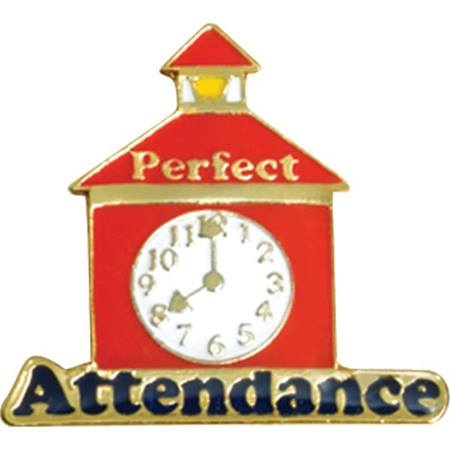 Perfect Attendance Award Pin – Schoolhouse with Clock
