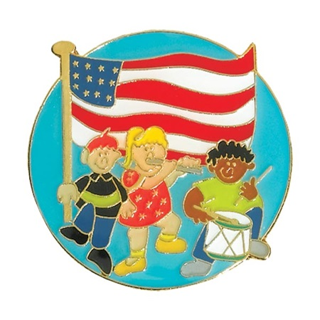 Patriotic Award Pin - Children With Flag