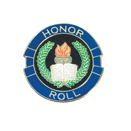 Honor Roll Award Pin - Torch, Book and Stars