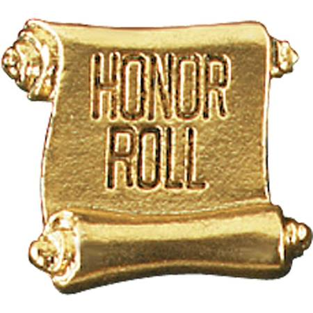 Honor Roll Award Pin - Gold Scroll