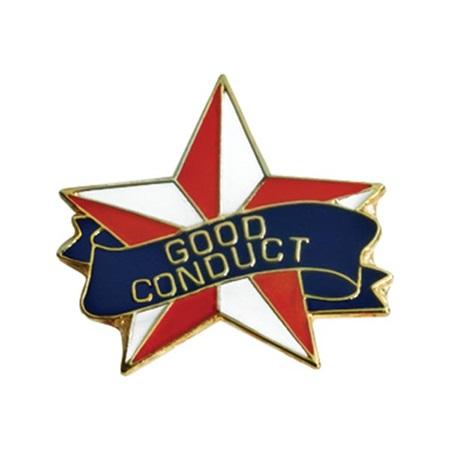 Good Conduct Award Pin - Red and White Star