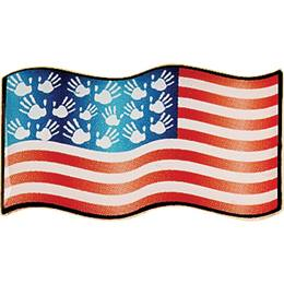 Patriotic Award Pin - Flag and Hands