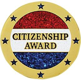 Citizenship Award Pin - Red, White and Blue Glitter