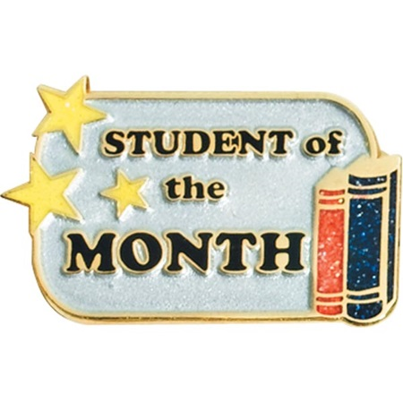 student of the month award pin glitter books