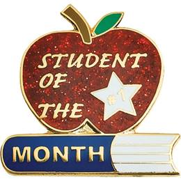 Student of the Month Award Pin - Glitter Apple