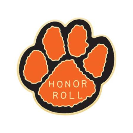 Honor Roll Award Pin - Orange and Black Paw