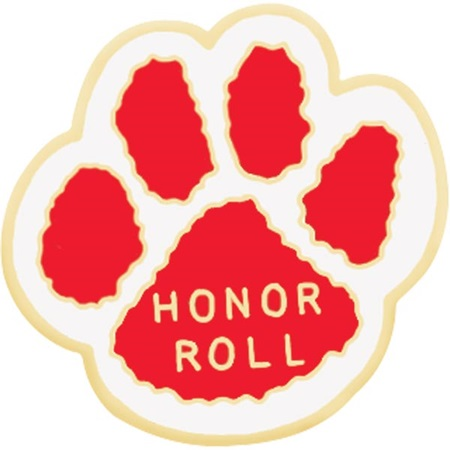 Honor Roll Award Pin - Red and White Paw