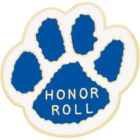 Honor Roll Award Pin - Blue and White Paw