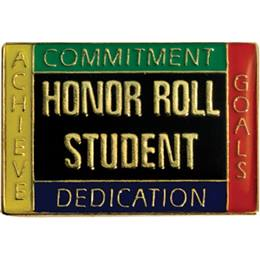 Honor Roll Award Pin - Commitment, Dedication, Achieve, Goals