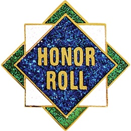 Honor Roll Award Pin - Glitter Squares