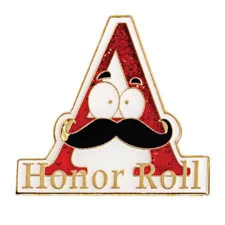"Honor Roll  Award Pin - Glitter ""A"" With Mustache"