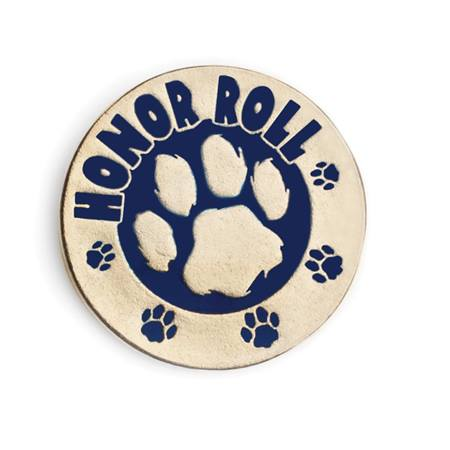 Honor Roll Award Pin - Blue/Gold Paw