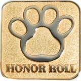 Honor Roll Award Pin - Silver Paw on Gold
