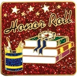 Honor Roll Award Pin - Glitter School Supplies