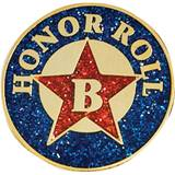 "Honor Roll Award Pin - Glitter ""B"" Honor Roll"