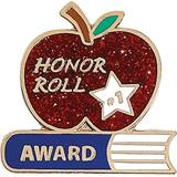 Honor Roll  Award Pin - Glitter Apple