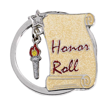 Honor Roll Award Pin - Hanging Torch Charm