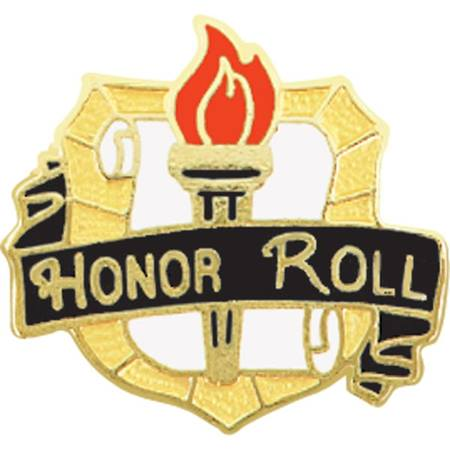 Honor Roll Award Pin - Torch and Scroll