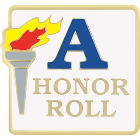 "Honor Roll Award Pin - ""A"" Honor Roll Torch"