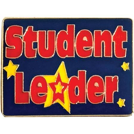Leadership Award Pin - Red Letters/ Yellow Star Student Leader