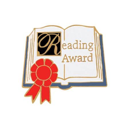Reading Award Pin – Book with Red Ribbon