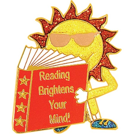 Reading Award Pin - Glitter Reading Brightens Your Mind