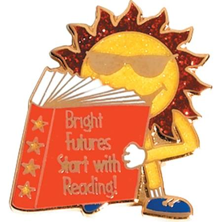 Reading Award Pin - Glitter Bright Futures Start With Reading