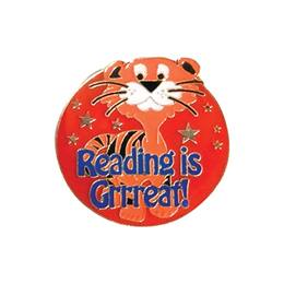 Reading Award Pin - Reading Is Grrreat Tiger