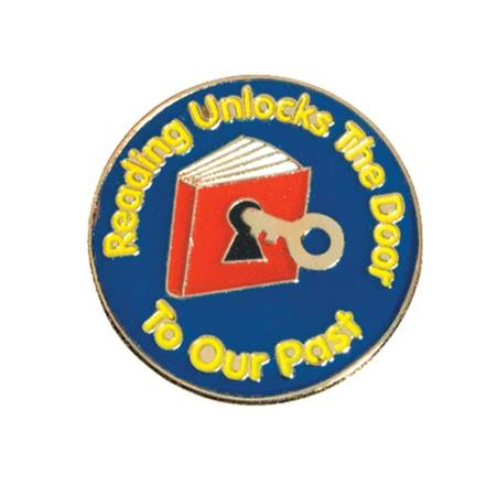 Reading Award Pin - Reading Unlocks the Door to Our Past
