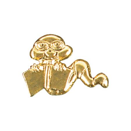 Reading Award Pin - Gold Bookworm