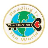 Reading Award Pin - Reading Is the Key to The World