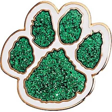 Green Paw Award Pin -  Glitter