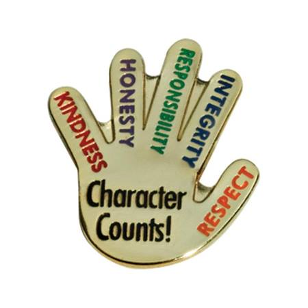 Character Award Pin - Character Counts Hand