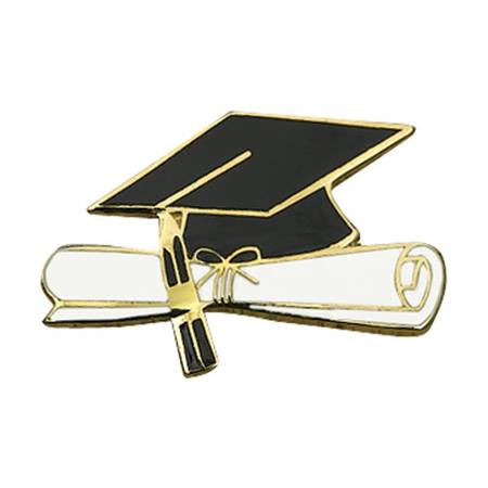 graduation award pin cap and diploma