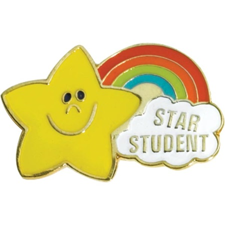 Star Student Award Pin - Rainbow Star