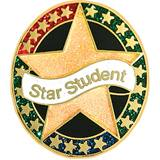 Star Student Award Pin - Glitter Star