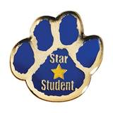 Star Student Award Pin - Blue Paw
