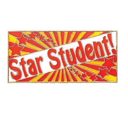 Star Student Award Pin - Red and Gold Starburst