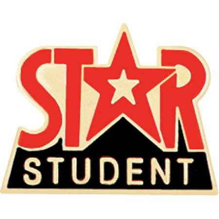 Star Student Award Pin - Red and Black