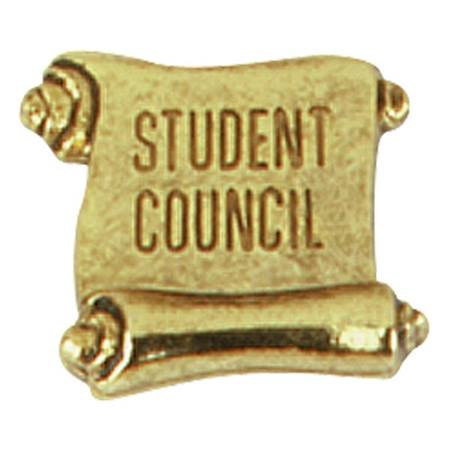 Student Council Award Pin - Gold Scroll