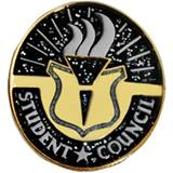 Student Council Award Pin - Black/Gold Glitter Torch
