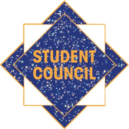 Student Council Award Pin - Blue Glitter Squares