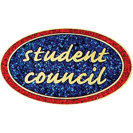 Student Council Award Pin - Glitter Oval