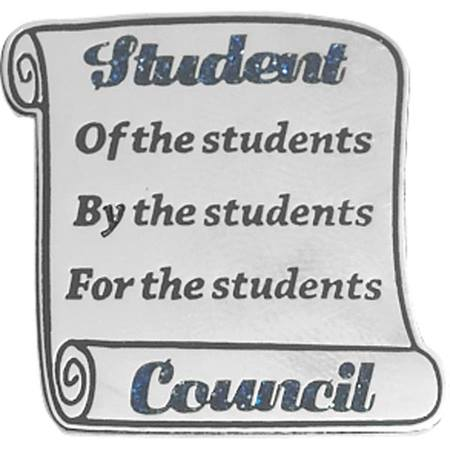 Student Council Award Pin - Glitter Scroll